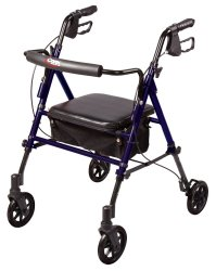 Carex® Step 'N Rest® 4-Wheel Rolling Walker, 6 in. Wheel, 29.5 - 39 in. Handle, Dark Blue, 250 lbs, Aluminum Frame