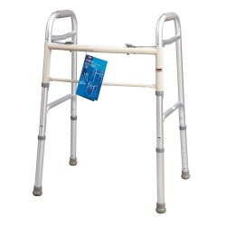Carex® Dual Button Walker, 30 - 37 in., Silver, 300 lbs. Capacity, Aluminum