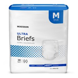 McKesson Ultra Adult Heavy-Absorbent Incontinence Brief, Medium, White