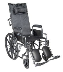 drive™ Silver Sport Reclining Wheelchair with Padded, Removable Arm, Composite Mag Wheel, 16 in. Seat, Swing-Away Elevating Legrest, 300 lbs