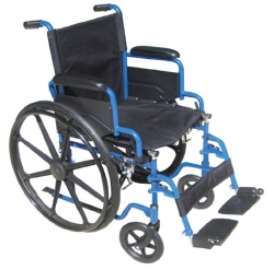 drive™ Blue Streak Standard Wheelchair with Flip Back, Padded Arm, Composite Mag Wheel, 18 in. Seat, Swing-Away Footrest, 250 lbs