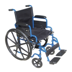 drive™ Blue Streak Standard Wheelchair with Flip Back, Padded Arm, Composite Mag Wheel, 18 in. Seat, Swing-Away Footrest, 250 lbs.