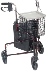 drive™ 3-Wheel Rollator, 7.5 in. Wheel, 31 - 38 in. Handle, Flame Red, 300 lbs, Aluminum Frame