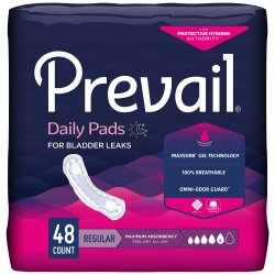 Prevail® Daily Pads Adult Disposable Heavy-Absorbent Bladder Control Pad, 11 Inch Length