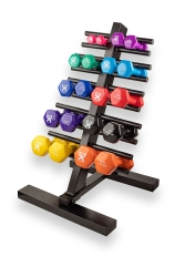 CanDo® Vinyl Coated Dumbbell Set with Rack
