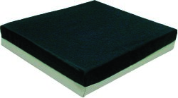 Economy Seat Cushion, 18 in. W x 16 in. D x 2 in. H, Gel / Polyurethane Foam, Black / Gray, Non-inflatable