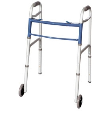 Carex® Classics Dual Button Walker, 31.75 - 37.75 in., Blue / Silver, 300 lbs. Capacity, Aluminum