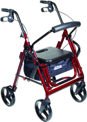 drive™ Duet 4-wheel rollator/Transport Chair, 8 in. Wheel, 31.5 - 37 in. Handle, Burgundy, 300 lbs, Aluminum Frame