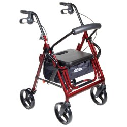drive™ Duet 4-Wheel Rollator / Transport Chair, Burgundy