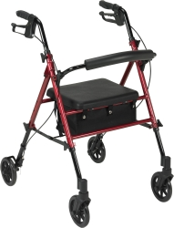 drive™ 4-wheel rollator, 6 in. Wheel, 29.5 - 38 in. Handle, Blue, 300 lbs, Aluminum Frame