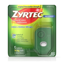 Zyrtec® Allergy Relief, 10 mg Tablet, 5 per Bottle