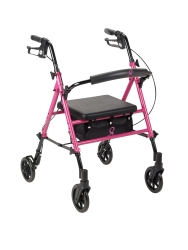 drive™ 4-wheel rollator, 6 in. Wheel, 29.5 - 38 in. Handle, Pink, 300 lbs, Aluminum Frame