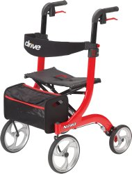 drive™ Nitro 4-wheel rollator, 10 in. Wheel, 33.5 - 38.25 in. Handle, Red, 300 lbs, Aluminum Frame