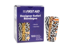 American® White Cross Stat Strip® Designer Safari Kid Design Adhesive Strip, ¾ x 3 Inch