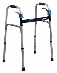 drive™ Deluxe Dual Release Folding Walker, 25.5 - 32 in., Flame Blue, 350-lb capacity, Aluminum