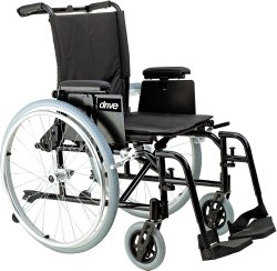 drive™ Cougar Ultra Lightweight Wheelchair with Removable T Style Arm Arm, Steel Spoke Wheel, 16 in. Seat, Swing-Away Footrest, 250 lbs