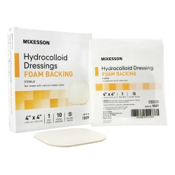 McKesson Sterile Hydrocolloid Dressing, 4 x 4 Inch, Off-White