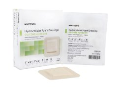 McKesson Square Sterile Adhesive Silicone Foam Dressing with Border, 3 x 3 Inch