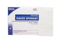 Dukal Rectangular 12-Ply Nonsterile Gauze Sponge, 8 x 4 in., 200-Pack