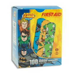 Stat Strip® Aquaman/Green Lantern Kid Design Adhesive Strip, ¾ x 3 Inch