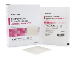 McKesson Square Sterile Adhesive Acrylic Foam Dressing with Border, 3 x 3 Inch