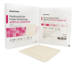 McKesson Square Sterile Adhesive Acrylic Foam Dressing with Border, 6 x 6 Inch