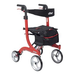 drive™ Nitro 4-Wheel Rollator, 10 in. wheel, 36 - 41 in. Handle, Red, 300 lbs., Aluminum Frame