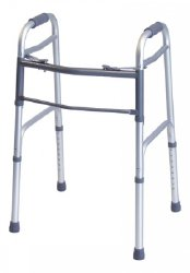Lumex® Everyday Dual Release Folding Walker, 32 - 38 in., Silver, 300 lbs. Capacity, Aluminum