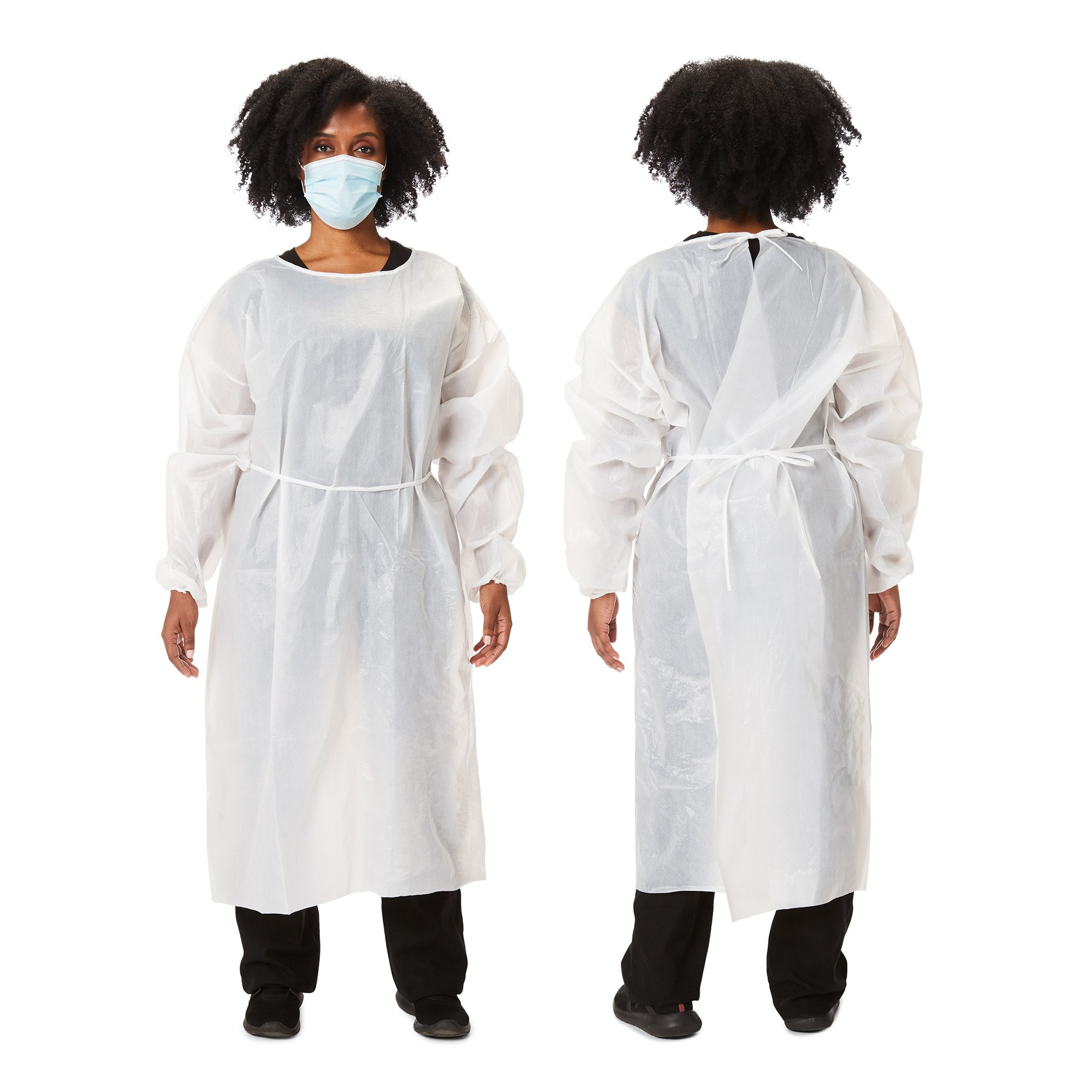 Picture of Protective Procedure Gown One Size Fits Most White NonSterile Disposable, 10 per Bag
