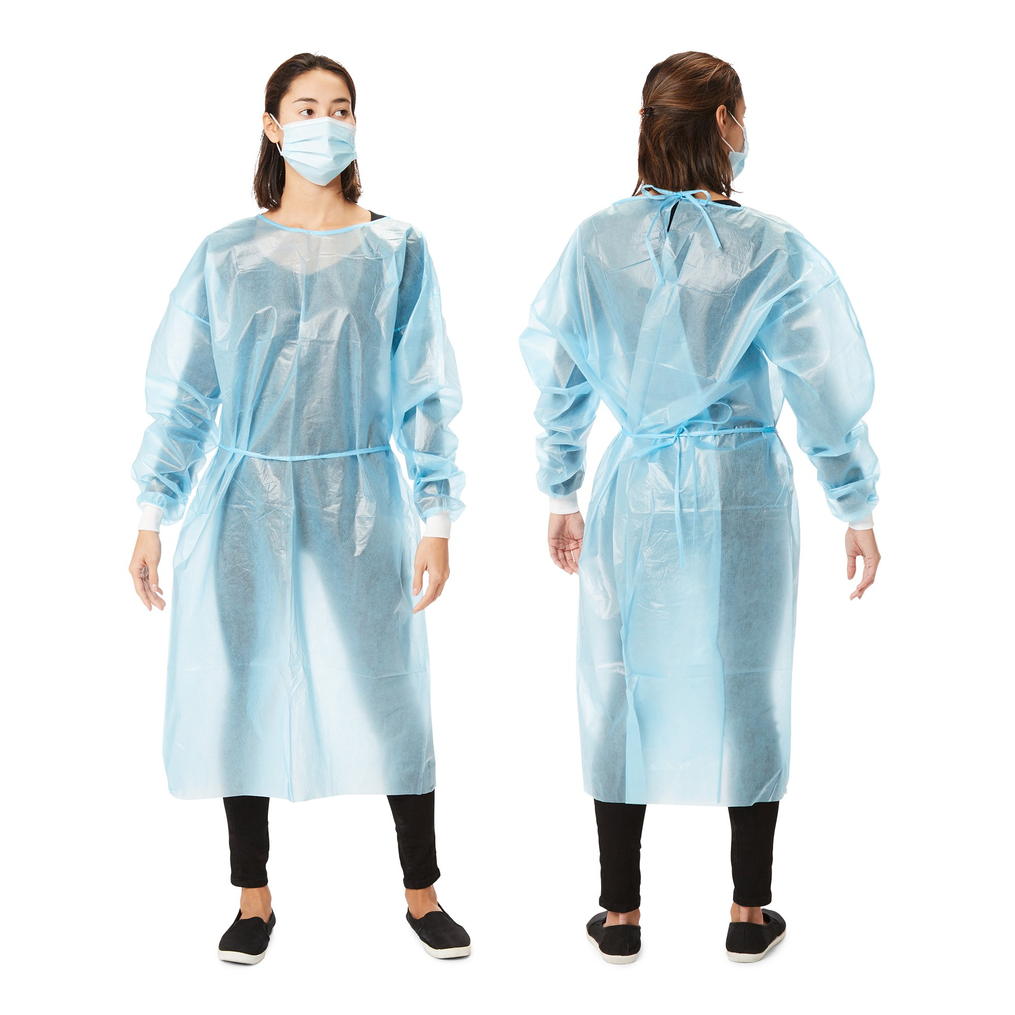 Picture of Protective Procedure Gown One Size Fits Most Blue NonSterile Disposable, 10 per Bag