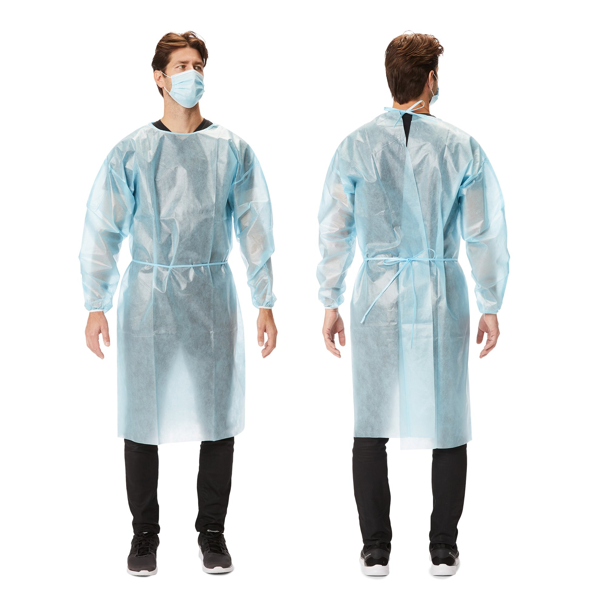 Picture of Protective Procedure Gown Large Blue NonSterile AAMI Level 1 Disposable, 10 per Bag