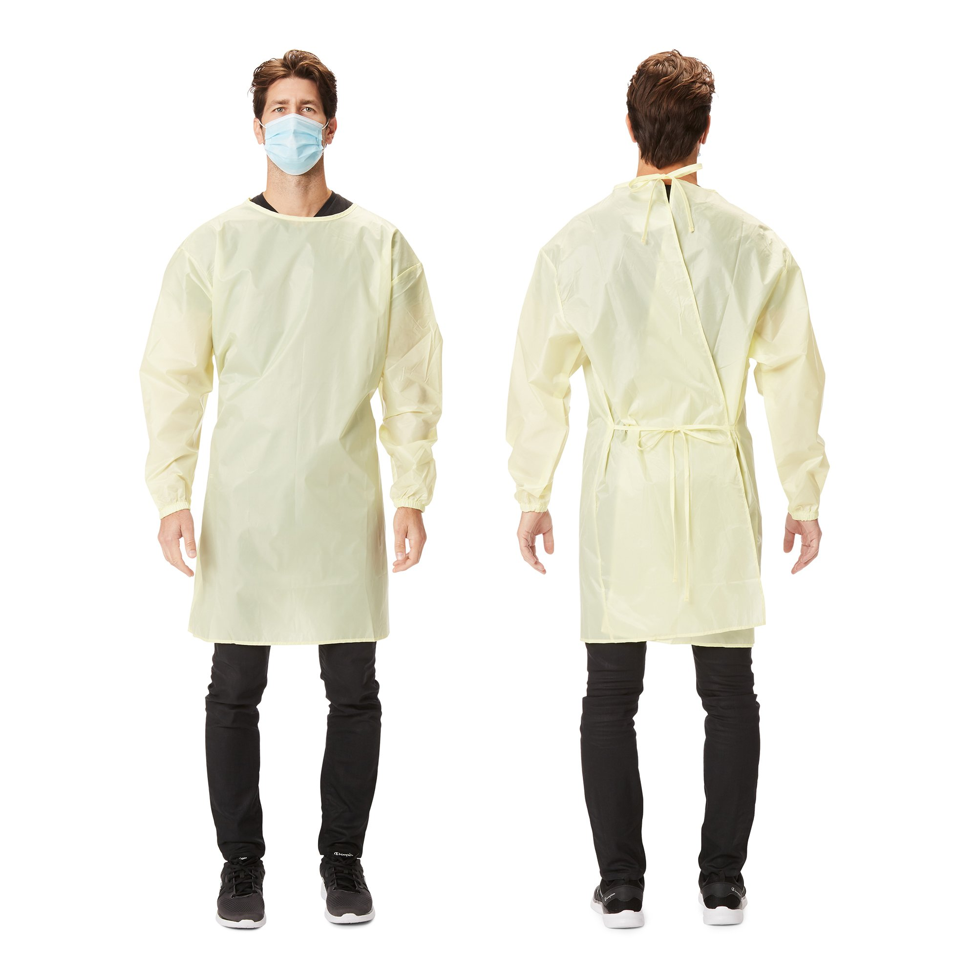 Picture of Protective Procedure Gown Large / X-Large Yellow NonSterile AAMI Level 1 Reusable, 50 per Case