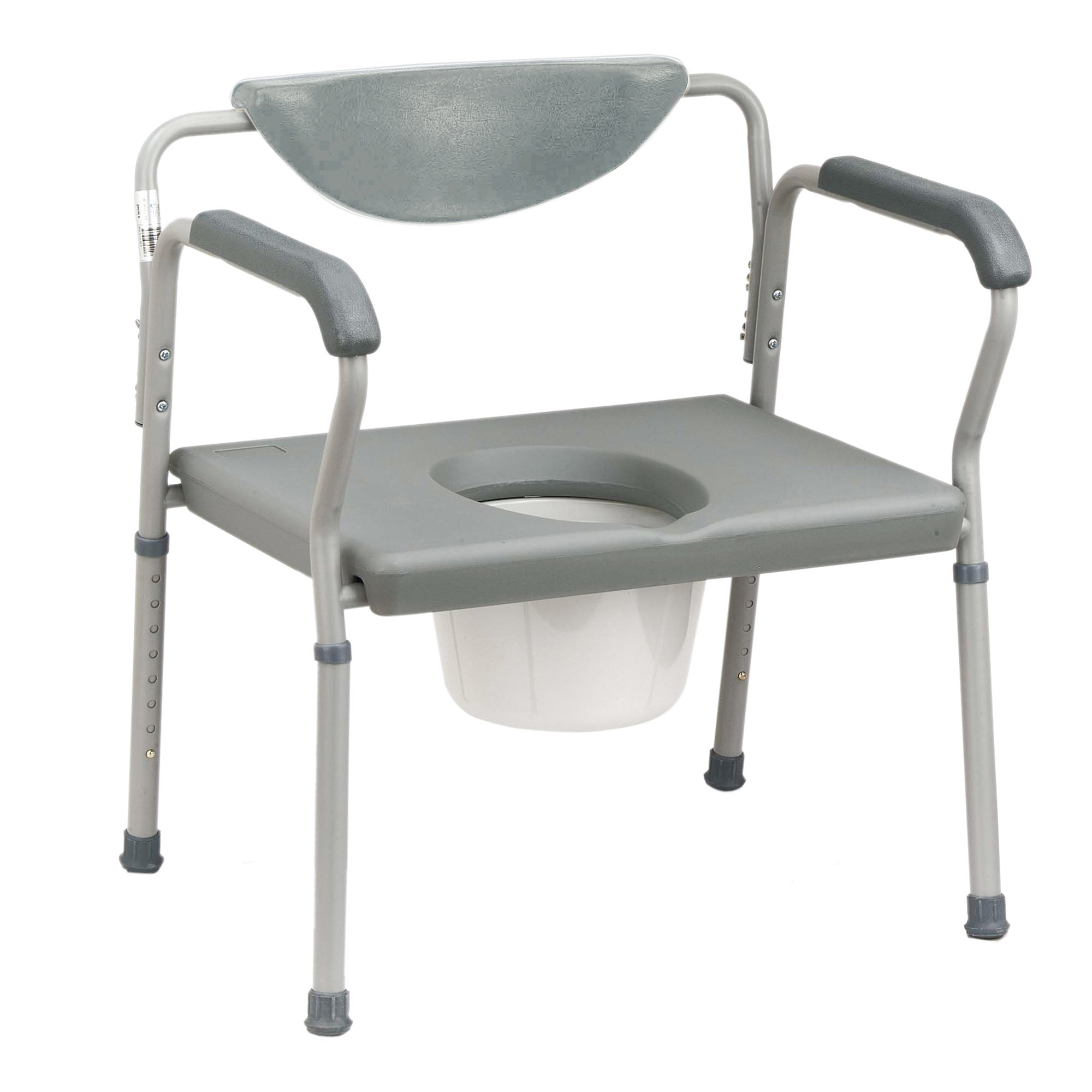 drive Bariatric Commode Chair Fixed Arm Steel Padded Back Up